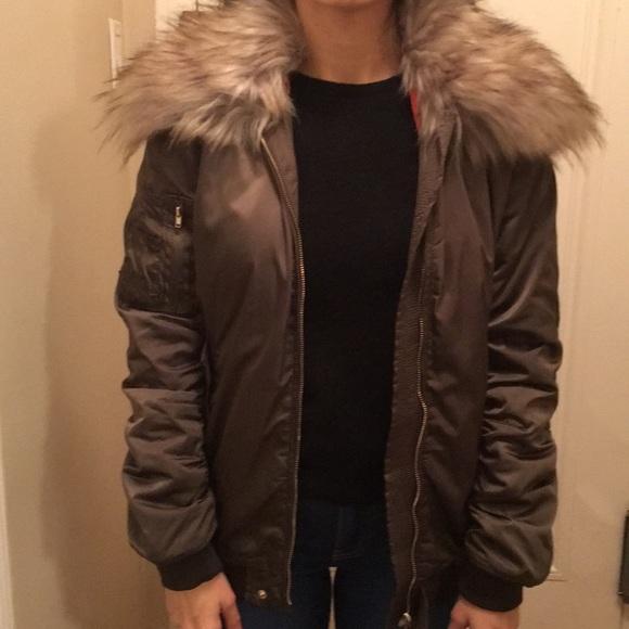 e43bf2c4 Zara Jackets & Coats | Faux Fur Collar Bomber Jacket | Poshmark